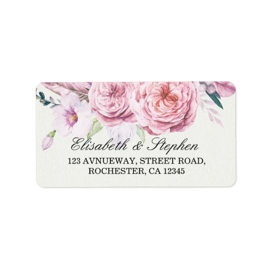 Wedding Address Watercolor Boho Floral Feather Label