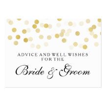 Wedding Advice Card Faux Gold Foil Glitter Lights Pack Of Chubby Business Cards