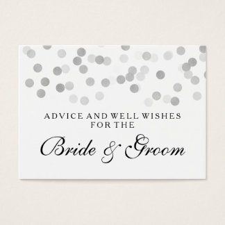 Wedding Advice Card Silver Foil Glitter Lights