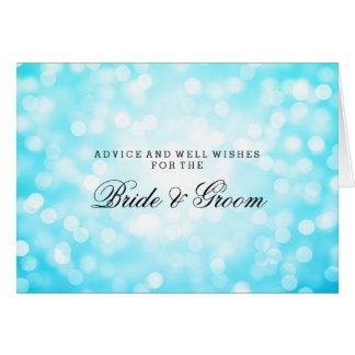 Wedding Advice Card Turquoise Glitter Lights