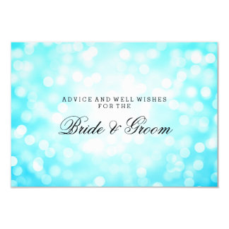Wedding Advice Card Turquoise Glitter Lights 9 Cm X 13 Cm Invitation Card