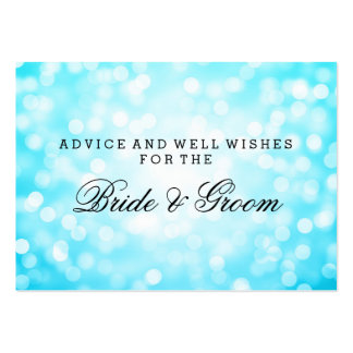 Wedding Advice Card Turquoise Glitter Lights Pack Of Chubby Business Cards