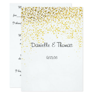 Wedding Advice, Elegant, Gold Confetti Card