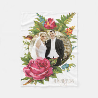 Wedding and couple floral photo border fleece blanket