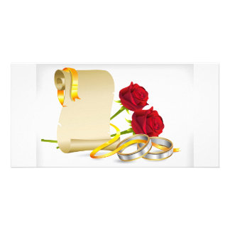 Wedding and engagement scroll with red roses,rings customized photo card