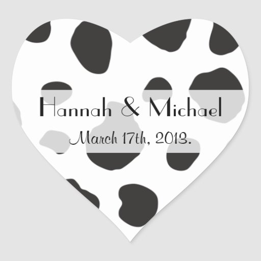 Wedding - Animal Print, Cow Spots - White Black Sticker