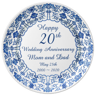 Wedding Anniversary Blue Asian Porcelain Plate
