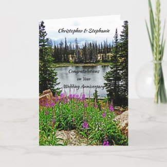 Wedding Anniversary, Deep Pink Flowers by Lake Card