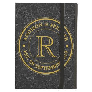 Wedding Anniversary Gold Monogram Black Leather iPad Air Cases