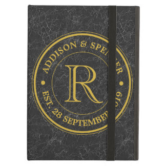 Wedding Anniversary Gold Monogram Black Leather iPad Air Cover