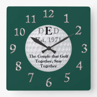 Wedding Anniversary Golf Clock with YOUR TEXT