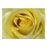 Wedding Anniversary, Macro Yellow Rose Photograph Greeting Card