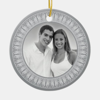 Wedding Anniversary Memento or Gift Double-Sided Ceramic Round Christmas Ornament