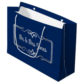 Wedding Anniversary Monogram Silver Navy Blue Large Gift Bag