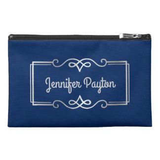 Wedding Anniversary Monogram Silver Navy Blue Travel Accessory Bag