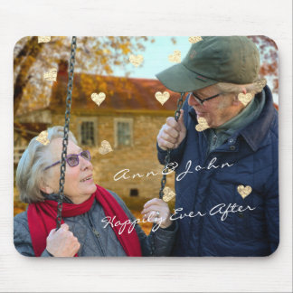 WeddinG Anniversary Name Photo Gold Hearts Gold Mouse Mat
