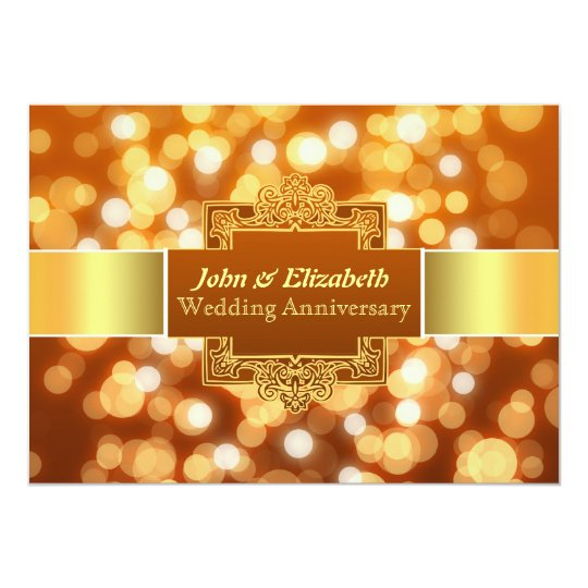 wedding anniversary party golden invitation
