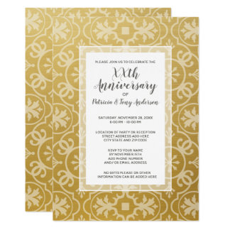 Wedding Anniversary Party Modern Pattern 50th gold Card