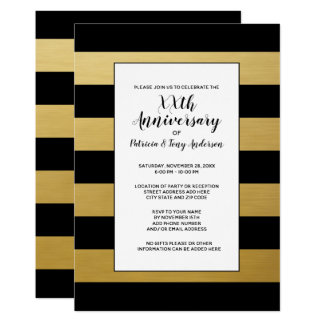 Wedding Anniversary Party Modern Stripes 50th gold Card