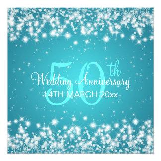 Wedding Anniversary Party Winter Sparkle Blue Invitation