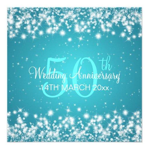 Wedding Anniversary Party Winter Sparkle Blue Custom Invite