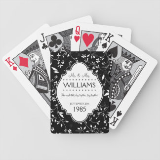 Wedding Anniversary Personalized Black and White Poker Deck