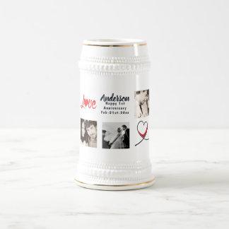 Wedding Anniversary PHOTO Collage Gift - Modern Beer Stein