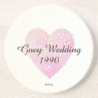 Wedding-Anniversary_Pink-Lace-Heart_Black Font Drink Coasters