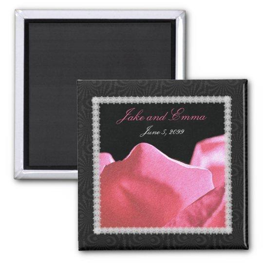 Wedding Anniversary Pink Rose Petals Square Magnet