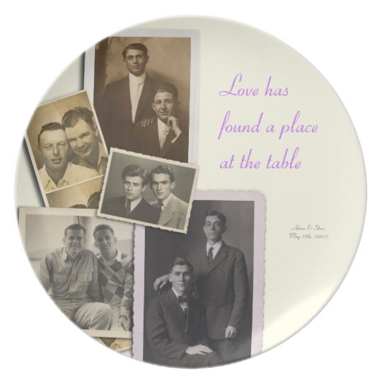 Wedding Anniversary plate with vintage portraits