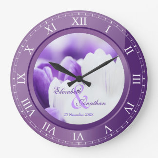 Wedding Anniversary Purple Amethyst Roman Numerals Large Clock