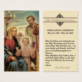 Wedding Anniversary Remembrance Holy Card & Prayer