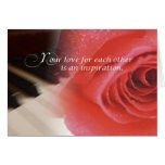 Wedding Anniversary, Rose on Piano Greeting Card