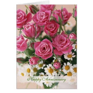 Wedding Anniversary - roses and daisies-camomiles Card