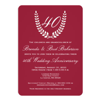 Wedding Anniversary - Ruby Red with White Laurel 13 Cm X 18 Cm Invitation Card