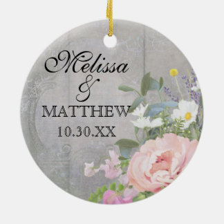 Wedding Anniversary Rustic Country Chic Floral Art Round Ceramic Decoration