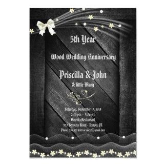 Wedding anniversary, rustic, wood, vintage 13 cm x 18 cm invitation card