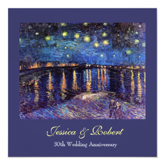Wedding anniversary, Starry Night over the Rhone 13 Cm X 13 Cm Square Invitation Card