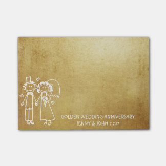Wedding Anniversary Thank You Grungy Gold Post-it Notes