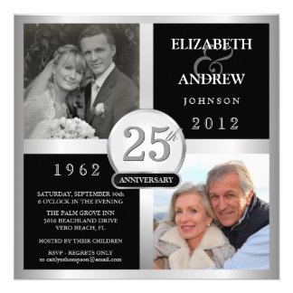 Wedding Anniversary - Then Now Photo Invitations
