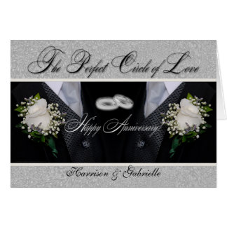 Wedding Anniversary | Two Grooms | Silver Damask Greeting Card