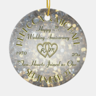 Wedding Anniversary Two Hearts Round Ceramic Decoration