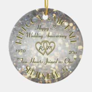 Wedding Anniversary Two Hearts Round Ceramic Decoration