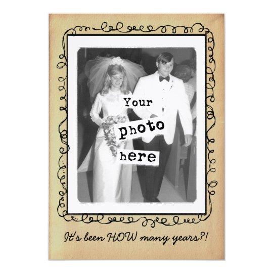 Wedding Anniversary Vintage Photo Template Card