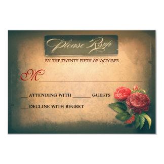 Wedding Anniversary vintage shabby RSVP cards 9 Cm X 13 Cm Invitation Card
