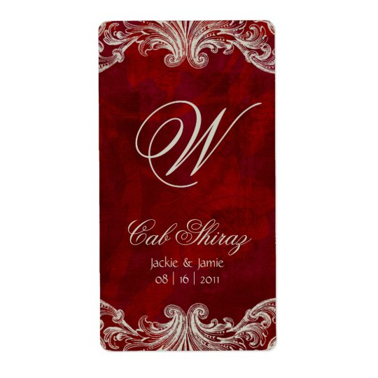 Wedding Anniversary Wine Label Antique Roses Red