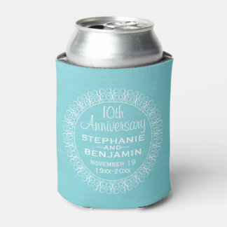 Wedding Anniversary with Teal Blue Background Can Cooler