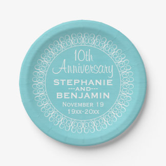 Wedding Anniversary with Teal Blue Background Paper Plate