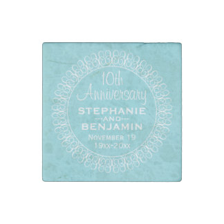 Wedding Anniversary with Teal Blue Background Stone Magnet