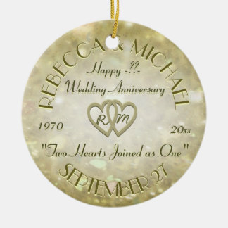 Wedding Anniversary with Two Hearts Round Ceramic Decoration